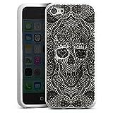 Coque en Silicone Compatible avec Apple iPhone 5c Étui Silicone Coque Souple Crâne en Dentelle Tête De Mort Motif