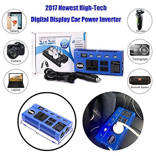 Preisvergleich Produktbild Digital Display 200Watt Power Inverter DC 12V auf AC 230V KFZ Konverter Ladegerät USB-Ports–2Jahre Garantie