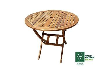 Gartentisch rund holz  Amazon.de: SAM® Akazie Holz Gartentisch Jasper mit Schirmloch ...