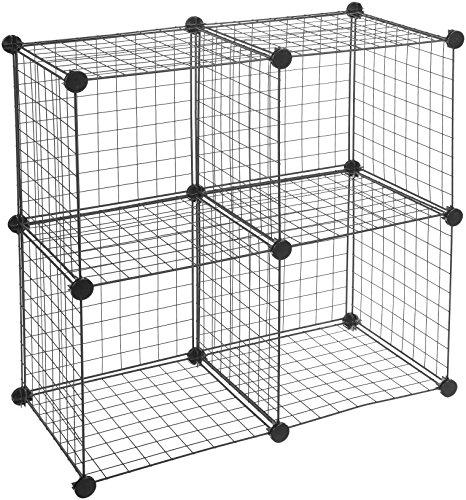 AmazonBasics - Estantes de almacenamiento, Cuatro cubos, de alambre - Negro