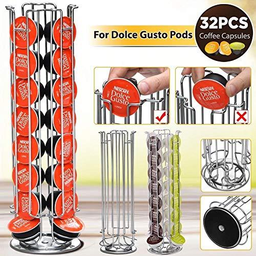 Bakaji - Soporte para cápsulas de café Dolce Gusto, inserción vertical de metal plateado 32 huecos...