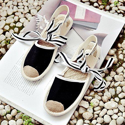 Lgk & fa estate sandali da donna estate Baotou sandali scarpe pescatore con piatto piatto paglia scarpe scarpe. Black