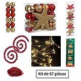 Set decorazione natalizia - 67 pezzi per l'albero di Natale: ghirlande, palle, stelle, puntale, fili dorati e ganci - TRADIZIONALE - Colore: ROSSO e ORO