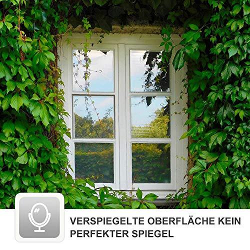 RH Art Sonnenschutzfolie mit Hitzeschutz UV-Schutz Blickdicht Selbsthaftende Spiegelfolie Sichtschutzfolie - Silber, 60 x 200 cm