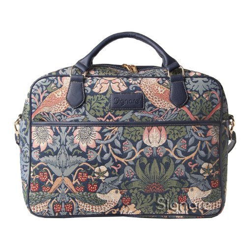 'Signare Bowlingtasche Damen Tapisserie Business Aktentasche Fashion Laptop Tasche in William Morris Erdbeerdieb Blau Design, 39,6 cm