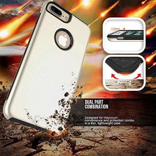 """MOONCASE iPhone 7 Plus Coque, Housse Etui Dual Layer Brossé Finition Absorption des chocs en Plastique Combo Armure Defender Case pour iPhone 7 Plus 5.5"""" Rose Or"""