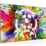 Bilder Löwe Graffiti Wandbild 120 x 80 cm - 3 Teilig Vlies - Leinwand Bild XXL Format Wandbilder Wohnzimmer Wohnung Deko Kunstdrucke Bunt - MADE IN GERMANY - Fertig zum Aufhängen 303531b