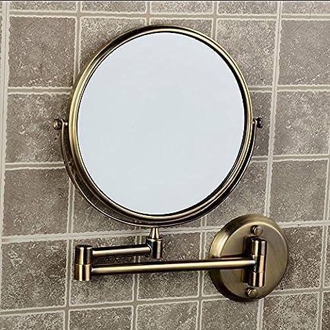 Ohcde Dheark Double De Haute Qualité D'Un Miroir Antique Loupe 1X3 Salle De Bains Cosmétiques Cuivre Murale Double Face Miroir Baignoire