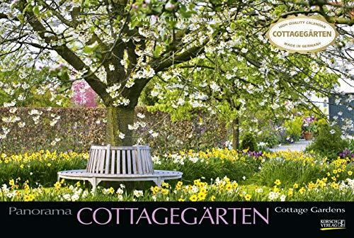 Cottagegärten 2020: Großer Foto-Wandkalender mit Bildern englischer Gärten. Edler schwarzer Hintergrund und Foliendeckblatt. PhotoArt Panorama Querformat: 58x39 cm.