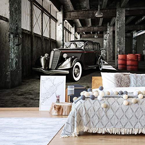 Oldtimer Garage Vlies Fototapete Fotomural - Wandbild - Tapete - 312cm x 219cm / 3 Teilig - Gedrückt auf 130gsm Vlies - 11895VEXXL - Autos & Transport