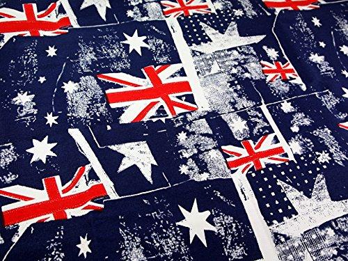 Union Jack Leinwand (Union Jack Kunstdruck Polycotton Leinwand Kleid Stoff rot, weiß & blau-Meterware)