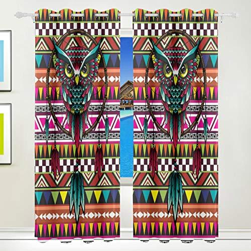 Ahomy - Cortinas Opacas de poliéster con diseño de búhos y atrapasueños de Marruecos, para decoración del hogar, para Patio, Ventana, Puerta corredera, 213,3 x 139,7 cm, Juego de 2 Paneles