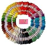 Fil de broderie premium aux couleurs de l'arc-en-ciel - Point de croix – Bracelets d'amitié – Fil d'artisanat - 105 échevettes par pack plus un ensemble gratuit d'aiguilles de broderie de haute qualité