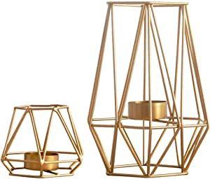 1 X Geometrische Hochzeit Kupfer Teelichthalter Kerzenhalter Laterne 2 Größe