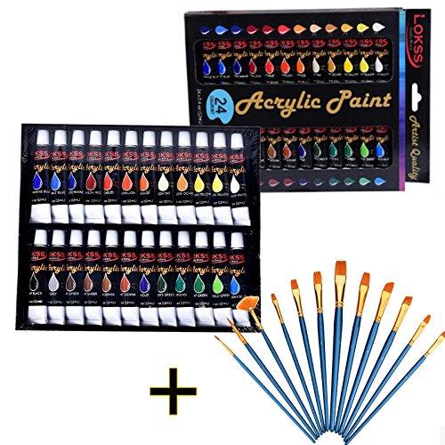 Acrylfarben Set 24er SANVA ink. 12 Stück Künstlerpinsel Besonders hochwertige und nicht-toxische Farben Perfekt zum Bemalen von Leinwänden, Holz, Keramik, Ton, Stoff, Nagelkunst