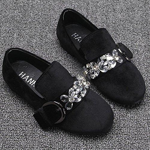 Oasap Girl's Fashion Round Toe Rhinestone Slip-on Flat Shoes Black