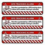 Finest-Folia 3X GPS Aufkleber Fahrrad Motorrad Auto Alarm Warnung Anti Diebstahl Sticker Tracker gesichert (Weiß, Fahrrad)