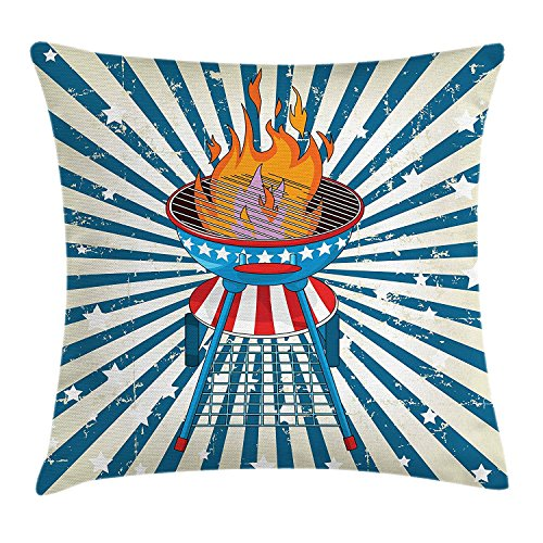 Cupsbags BBQ Party Throw Pillow Cushion Cover, Patriotic Starburst Stripes and Old Glory Themed Grill American, Decorative Square Accent Pillow Case, Vermilion Blue and Eggshell24 -