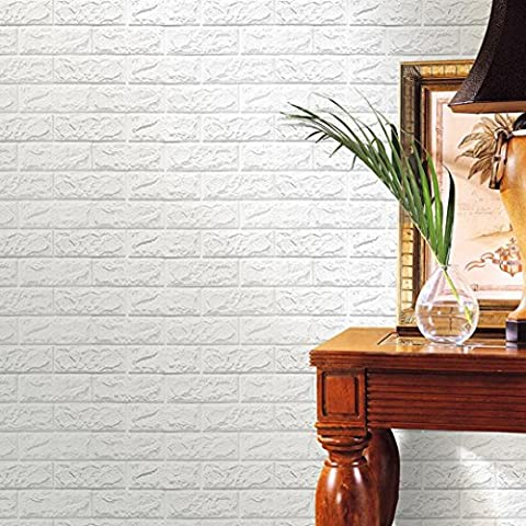 HLHN Creative PE Foam 3D Embossed Brick Stone Wallpaper Household Home Wall Sticker Poster Mural Decoration for Bedroom Livingroom Bathroom Kitchen Window Glass (White)