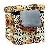 Relaxdays Faltbarer Sitzhocker 38 cm stabiler Sitzwürfel mit trendigen Motiven als praktische Ablage als Sitzwürfel mit bedrucktem Kunstleder als Aufbewahrungsbox mit Stauraum und Deckel, Tiger gelb