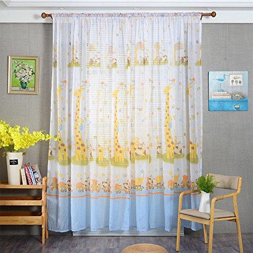 Vorhänge ösen Wohnzimmer Modern Jamicy® 100 x 200cm Neu Mode Auto Transparent Orientalisch Muster Giraffe Fenster Gardinen Deko Für Schlafzimmer Kinderzimmer Jungen