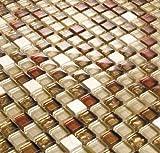 10x10cm Muster. Glas und Naturstein Mosaik Fliesen Muster in Braun, Beige und Rot Glänzend und Matt MT0065 Muster