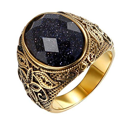 JewelryWe Schmuck Herren-Ring, Lila Sandstein Edelstahl, Retro Klasische geschnitzt Blumen Muster Ring Band, Gold - Größe 67