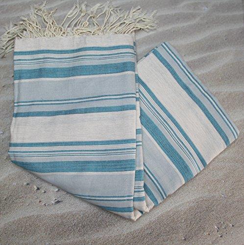 Grande fouta tunecina rayas turquesa Ref 21–se Utilise en–Manta Cama o Sofá XXL 200x 300cms–100% algodón peinado