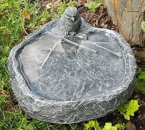 vogeltr nke mit vogel schiefergrau frostsicher vogelbad stein garten haustier. Black Bedroom Furniture Sets. Home Design Ideas
