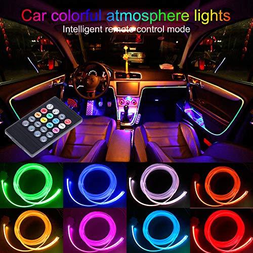 Taben auto decorazione interna atmosfera luce LED interni auto kit di illuminazione con 8colori, impermeabile, interni atmosfera luci al neon striscia per auto 1W DC12V (1set)