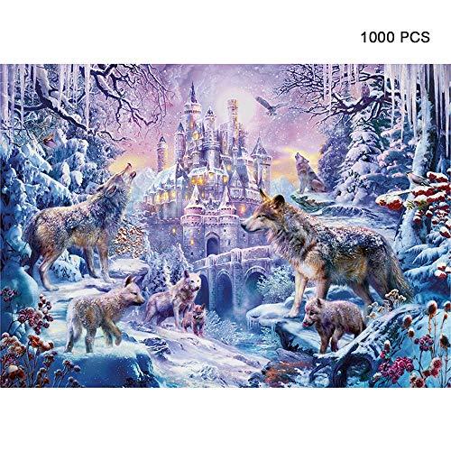 CGIIGI 1000 stück Papier Puzzle Schnee Wolf Figur Puzzle Spiel frühe Kindheit Bildung geistiges Spielzeug Halloween Weihnachten benutzerdefinierte Geschenk für Alter 12 +
