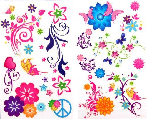 Preisvergleich Produktbild GGSELL neuesten LW heißer Verkauf 1 Packung mit 2 Stück wasserdichte bunten Schmetterling und Blume gefälschte temporäre Tattoos