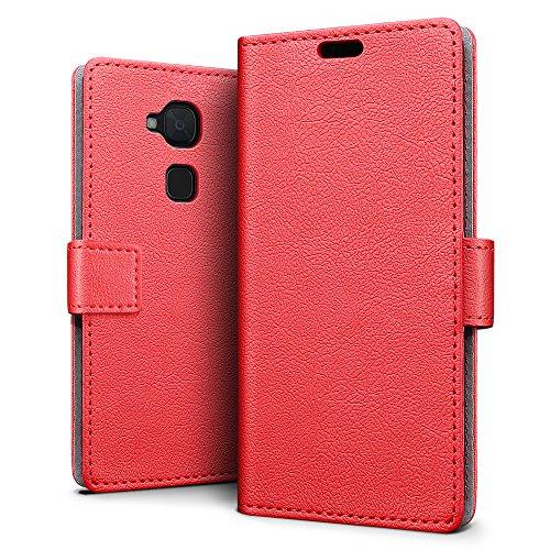 SLEO BQ Aquaris V Plus/BQ Aquaris VS Plus Hülle, Leder Case PU Ledertasche Magnet [Vollständigen Schutz] Flip Case mit Standfunktion Kartenfächer im Bookstyle - Rot