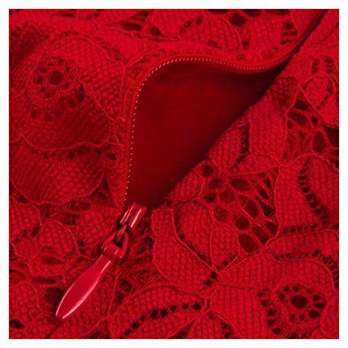 Miusol Col en V Robe de Cocktail 1950's pois Boutonni Retro Swing Robe de Soirée Rouge
