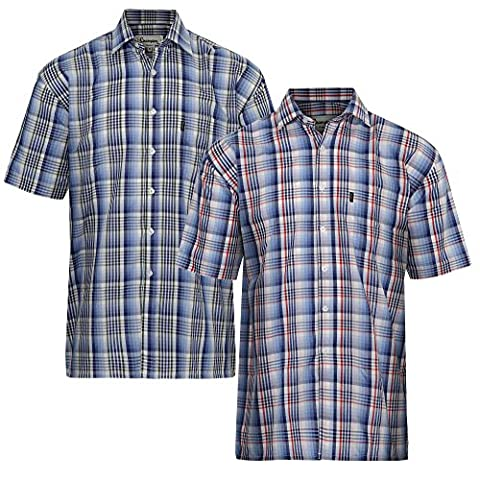 2 Pack/Set of Mens Chester Short Sleeve Country Check Summer Shirt Plus Size Classic Fit (M - 40