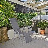 zxvv Liegestuhl mit Fußteil der Serie Korfu, Gartenstuhl mit Liegefunktion, Terrassenstuhl mit Armlehne, Robuster Aluminium Stuhl in Grau