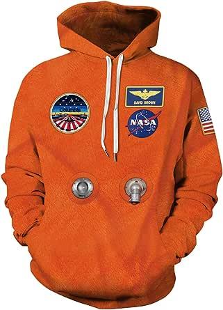 Haosheng Unisex NASA 3D Felpa Uomo con Cappuccio Rocket Galaxy Logo Acogliente Streetwear Sweatshirt
