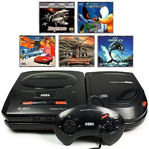 SEGA Mega-CD Konsole inkl. Zubehör und mit 5 Kultspielen (Ecco The Dolphin Sega Cd)