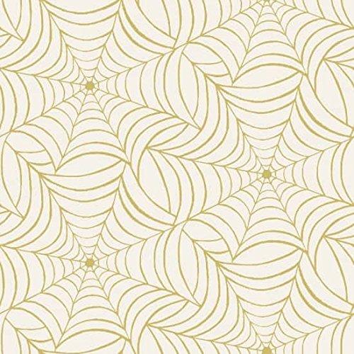 Henry Glas Baumwolle Stoff-Fat Quarter Midnight Spell-Spider Web in Gold auf Cremefarben