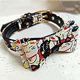hifuture japanischen Stil, Wind Schleife Pet Cat Hunde Leder Halsband verstellbar und langlebig bequem und atmungsaktiv kann Aufhängen Berühmte Marke Bell Halsband #05