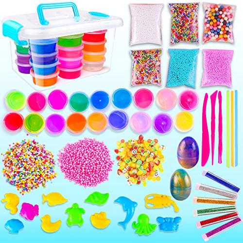 Set, Schleim zum Selbermachen für Kinder, 51 Teilig, Fluffy Cloud Slime Kit Spielzeug Box Geburtstagsgeschenk ()