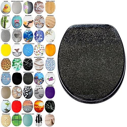Sedile WC, grande scelta di belli sedili WC da legno robusto e di alta qualità (Nero scintillante)