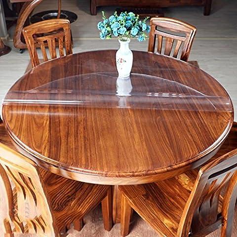YANLIU Pvc soft glass circular tablecloth, table waterproof anti-hot pad plastic crystal plate round table mat , 4 , diameter