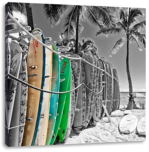 bunter Surfboards am Strand schwarz/weiß, Format: 40x40 auf Leinwand, XXL riesige Bilder fertig gerahmt mit Keilrahmen, Kunstdruck auf Wandbild mit Rahmen, günstiger als Gemälde oder Ölbild, kein Poster oder Plakat