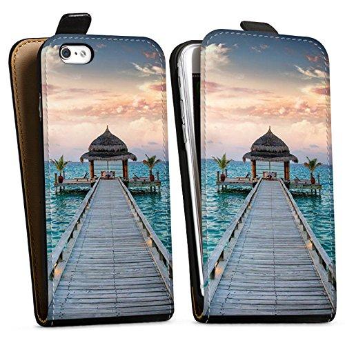 Apple iPhone X Silikon Hülle Case Schutzhülle Steg Urlaub Meer Downflip Tasche schwarz