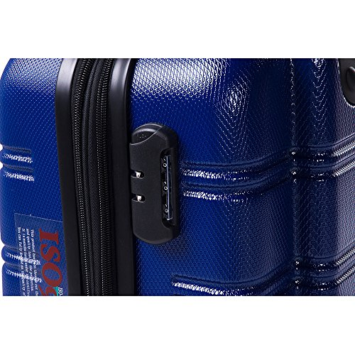 Travelhouse ABS Hard shell 4 wheel Travel Trolley Suitcase Luggage set Holdall Case Cablin (3 PCS, Blue)