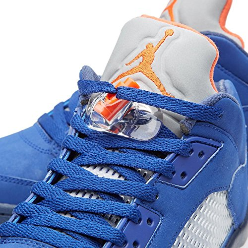 Nike Herren Air Jordan 5 Retro Low Basketballschuhe, Weiß, 44 EU Blau / Orange / Weiß (Dp Ryl Bl / Tm Orng-Mid Nvy-Atmc)