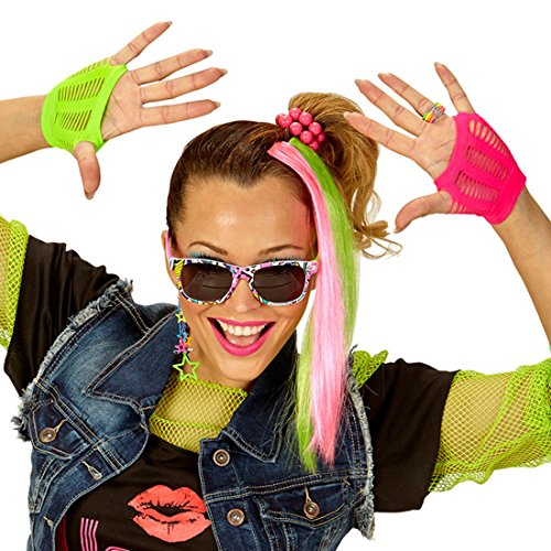 Amakando 80er Neon Outfit bestehend aus Handschuhen, Sonnenbrille, Ohrringe und 2 Extensions 80s Mode für Damen Retro Disco Kleidung Fasching Damenkostüm Accessoire Achtziger Jahre Neon Kostüm Set