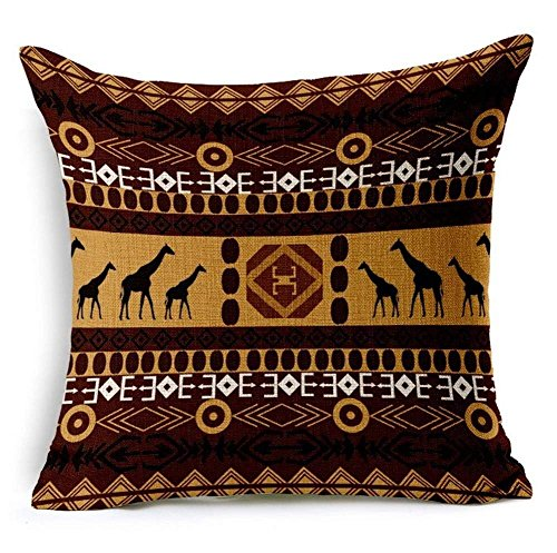 LULABE G.T. African Ethnic Style Stripe Print Throw Pillow Case Cushion Cover for Couch Sofa Or Bed Set Cozy Home Decor Size:16 X 16 Inches/40cm x 40cm