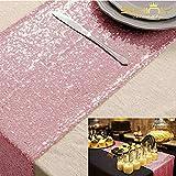 ShinyBeauty Chemin de table à paillettes or rose pour mariage / décoration d'évènements 30 x 180cm (couleur au choix)., Pink Gold, 30x180cm